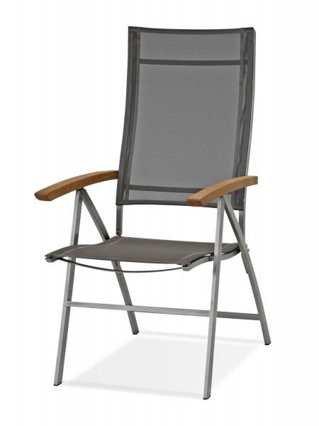 edelstahl hochlehner mit teak armlehnen edelstahl. Black Bedroom Furniture Sets. Home Design Ideas