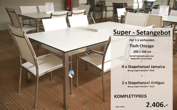 Super-Setangebot-8: Tisch CHICAGO 200 cm + 4 x Stapelsessel JAMAICA + 2 x Stapelsessel ANTIGUA