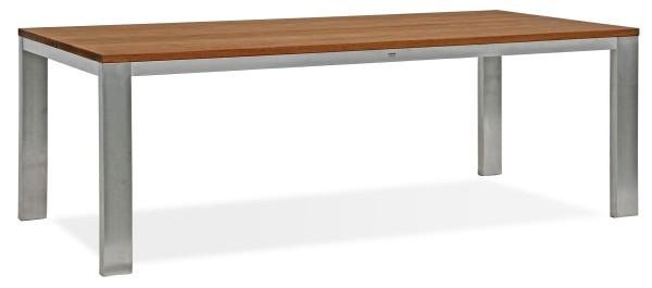 Edelstahl Tische mit Recycling Teak