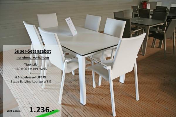 Tisch LIFE 160 cm + 6 Stapelsessel LIFE XL weiß