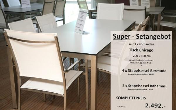 Super-Setangebot-5: Tisch CHICAGO 200 cm + 4 x Stapelsessel BERMUDA + 2 x Stapelsessel BAHAMAS