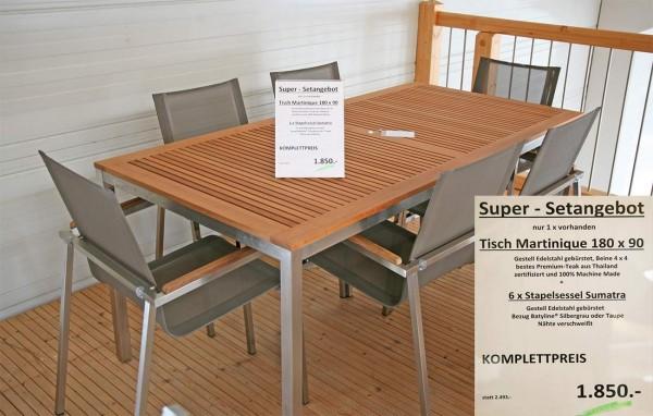 Set Tisch MARTINIQUE + 6 x Stapelsessel SUMATRA