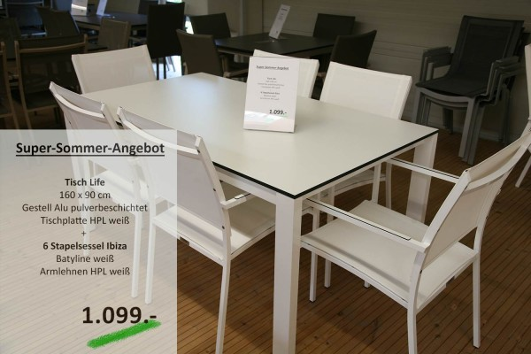 Tisch LIFE 160 cm + 6 Stapelsessel IBIZA weiss