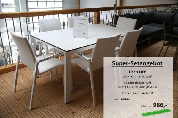 Tisch LIFE 160 cm + 6 Stapelsessel LIFE weiss
