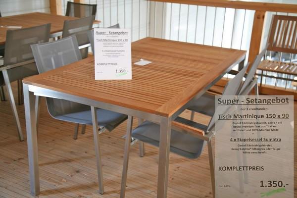 Set Tische MARTINIQUE + 4 x Stapelsessel SUMATRA