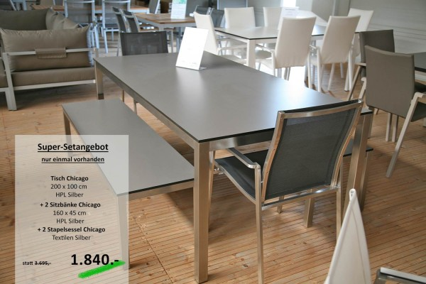 Tisch CHICAGO 200cm + 2 Sitzbänke + 2 Stapelsessel
