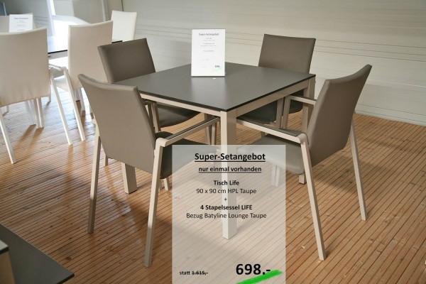 Tisch LIFE 90 cm + 4 Stapelsessel LIFE