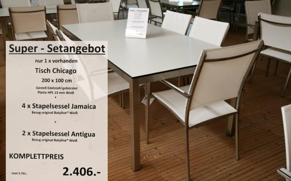 Super-Setangebot-6: Tisch CHICAGO 200 cm + 4 x Stapelsessel JAMAICA + 2 x Stapelsessel ANTIGUA
