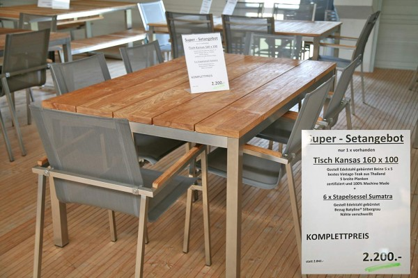 Set Tisch KANSAS 160 cm + 6 x Stapelsessel SUMATRA