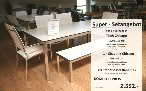 Super-Setangebot-1: Tisch CHICAGO 200 cm + 4 x Stapelsessel BAHAMAS + Sitzbank CHICAGO