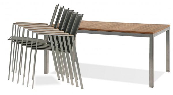 Edelstahl Sets mit 4 oder 6 Stühlen