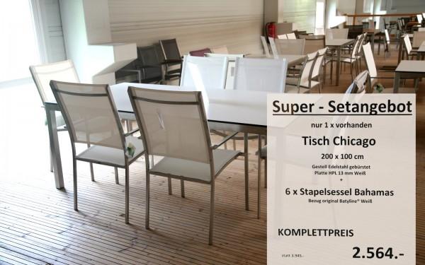 Super-Setangebot-7: Tisch CHICAGO 200 cm + 6 x Stapelsessel BAHAMAS