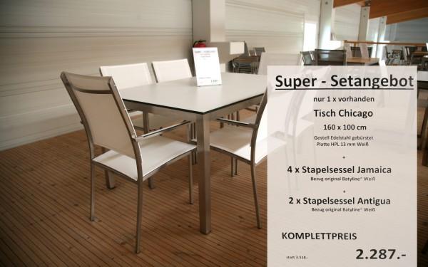 Super-Setangebot-4: Tisch CHICAGO 160 cm + 4 x Stapelsessel JAMAICA + 2 x Stapelsessel ANTIGUA