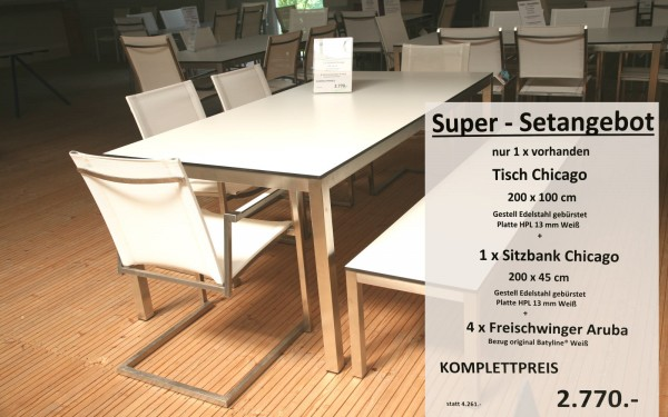 Super-Setangebot-2: Tisch CHICAGO 200 cm + 4 x Freischwinger ARUBA + Sitzbank CHICAGO