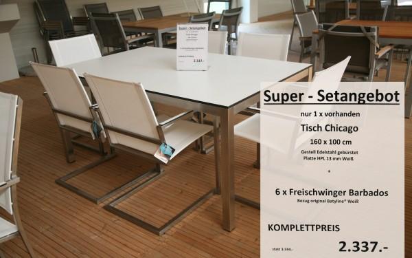 Super-Setangebot-3: Tisch CHICAGO 160 cm + 6 x Freischwinger BARBADOS