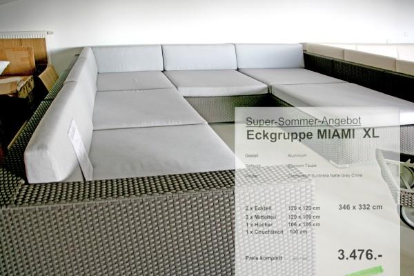 Eckgruppe Miami XL Natte grey Chine
